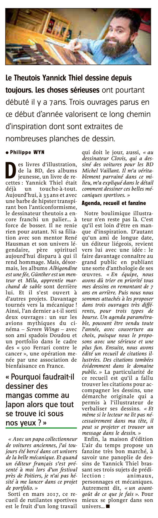 Article l'Avenir 2018 Yannick Thiel