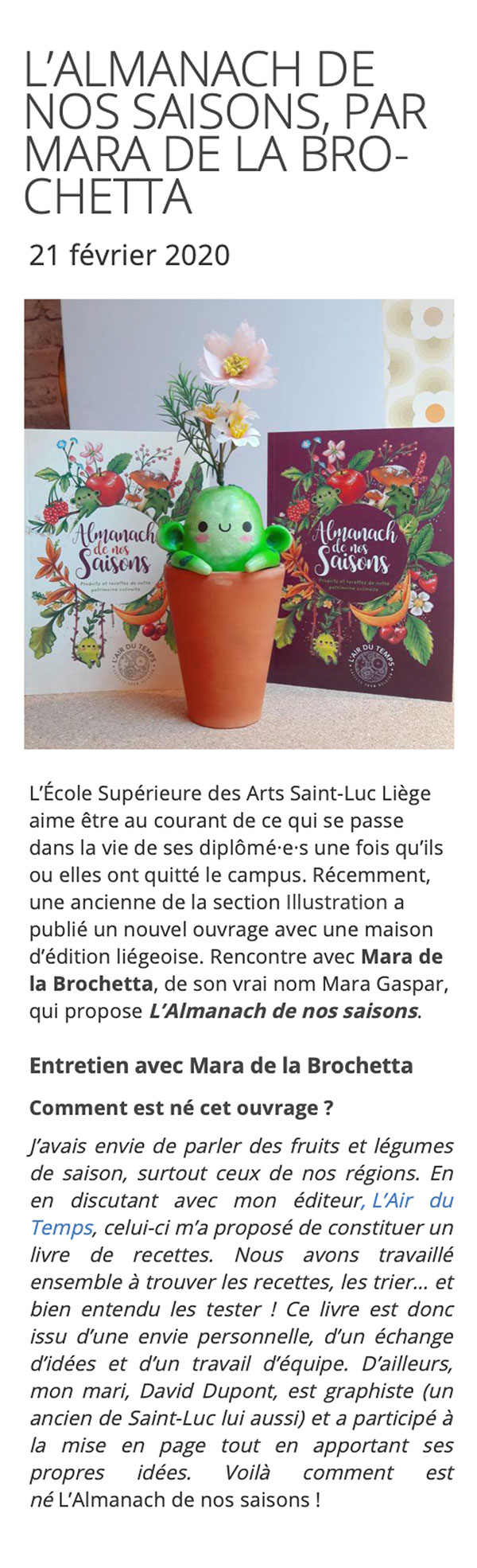 Article Saint-Luc 2020 Mara